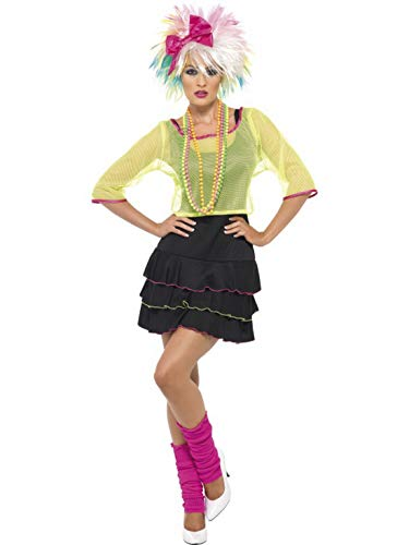 Halloweenia - Damen Frauen 80er Jahre Pop Tussi Rock Göre Kostüm mit Oberteil, Kleid und Haarban, perfekt für Karneval, Fasching und Fastnacht, M, Schwarz