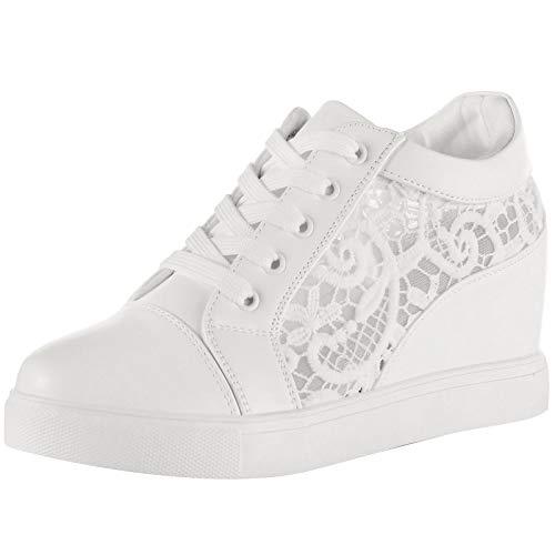 wealsex Baskets Compensées Femme PU Cuir Mesh Dentelle Sneaker Chaussures de Tennis (Blanche Dentelle,40)