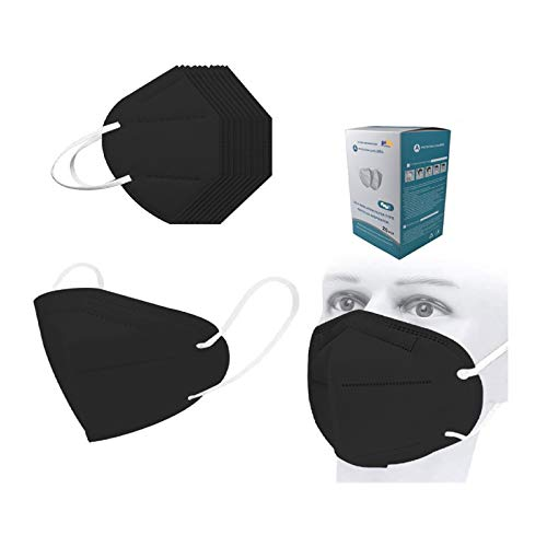 20pcs Black Disposаble_Mẵsk, 5 Layers Cup Dust Safety Face ṁàsḱs for Coronàvịrụs Protectịon, Fịlter Efficịency≥95%, Safety Facial Mouth Covers with Nose Wire