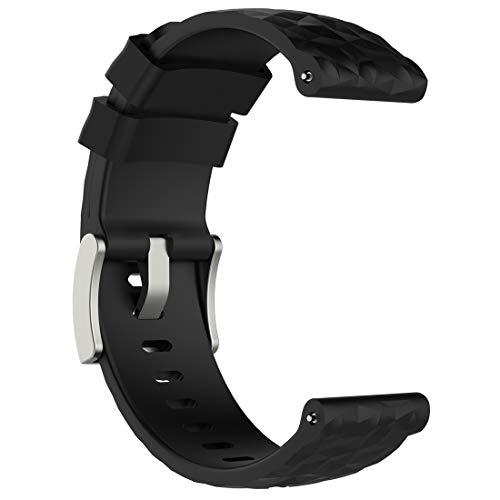 LOKEKE Suunto Spartan Sport Wrist HR Baro - Correa de repuesto para reloj inteligente Suunto Spartan Sport Wrist HR Baro y Suunto 9 Baro (silicona negra)