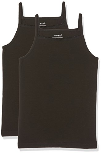 NAME IT Mädchen NITSTRAP 2P SOLID K G NOOS Top, Schwarz (Black Black), 116 (2er Pack)