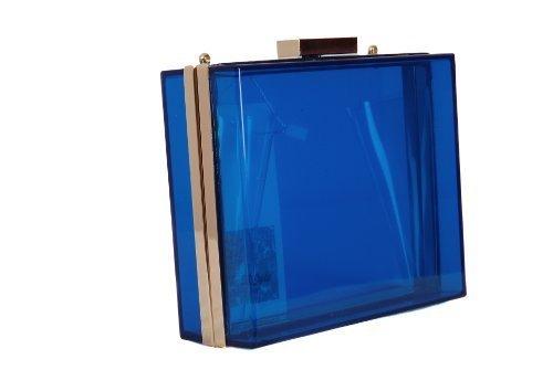 Blue See Through Transparent Perspex Handbag Occasion Box Shape Clutch Bag Shaunta Markwell