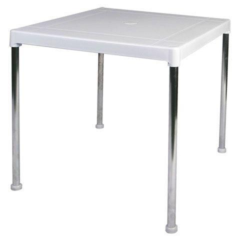 Garden Life 4026-01 Tablero de Resina y Patas Aluminio, Blanco, 70x70x13 cm