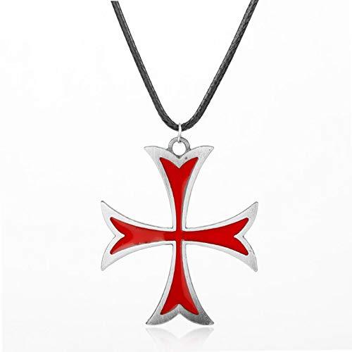 Collar con colgante y colgante de cruz de hierro templario vintage para hombre y mujer, regalo de fiesta de Navidad (color metálico: plata, tamaño: 4,4 x 3,7 cm)