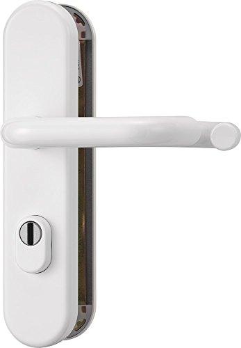 ABUS Tür-Schutzbeschlag KLZS714 W weiß mit Zylinderschutz & beidseitigem Drücker rund, 12237