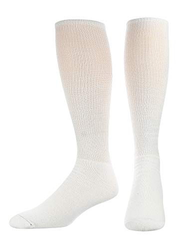 TCK TS All Sport Polyester Baseball Football Soccer Volleyball Tube Sock (White, Large)