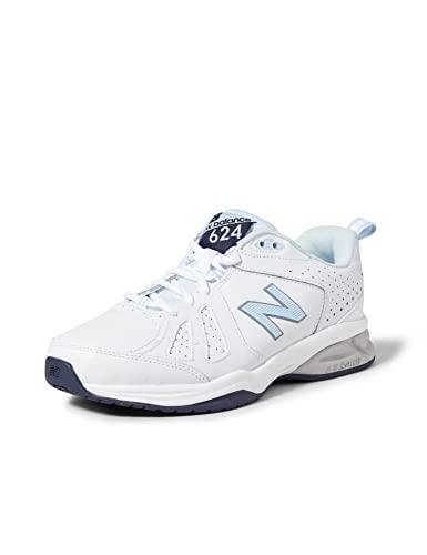 New Balance Women's 624 Cross Training Shoes, White/Blue, 9.5 US