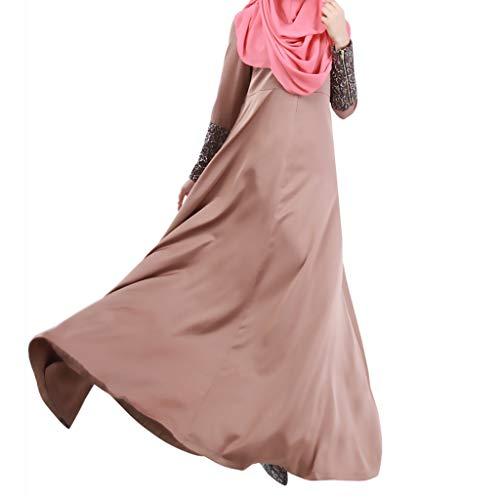 FeiliandaJJ Muslimische Kleider für Damen,Islamische Kleidung Frauen Elegant Lose Sommer Kaftan Naher Osten Türkisch Arabia Dubai Abaya Robe Länge Kleid (M, Kaffee)