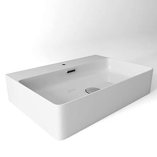 Aufsatzwaschbecken Eckig Keramik Handwaschbecken Waschschale mit Überlauf - weiß