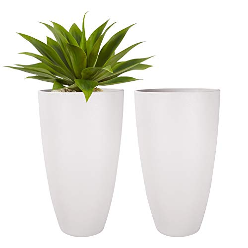LA JOLIE MUSE Tall Planters Outdoor Indoor - Tree Planter 20 inch Modern White Flower Pots with Drainage Holes for Balcony Garden Patio Deck Pack 2