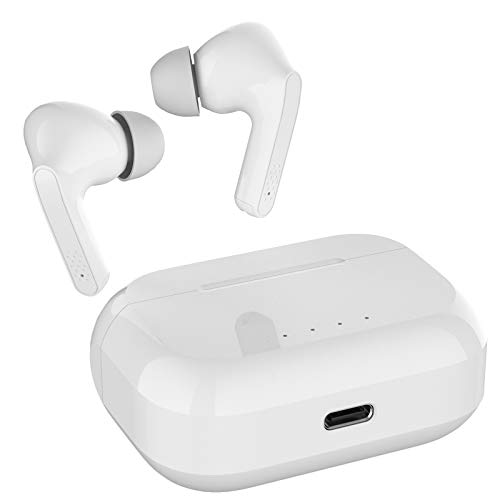 Bluetooth Earbuds Wireless Stereo Wireless Earbuds Microphone Bluetooth 5.0 Waterproof Bluetooth Headphones Touch Control Wireless Earphones with Charging Case Headset … (White)