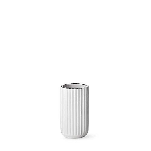 Lyngby vaas wit met zilveren rand, 15cm