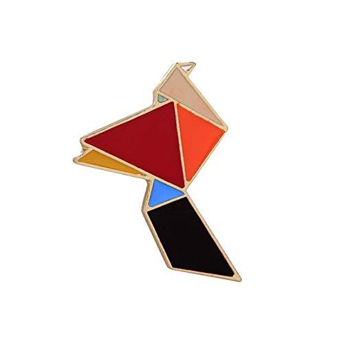 Geométrico Arco Iris Conejo Grulla Pines de esmalte Dibujos animados Origami Animales Broches Insignias Chaquetas Camisa Pin de solapa de metal Bolsa Accesorios-Grúa