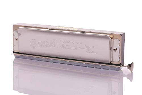 Excellent Gift for Music Fan - Silver Best Music Gift Chromatic Harmonica Key of C 10 Hole 40 Tone with Case for Professional Player Adult Beginner Students Swan