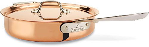 All-Clad CD403 C2 COPPER CLAD Saute Pan with Lid with Bonded Copper Exterior Cookware, 3-Quart, Copper