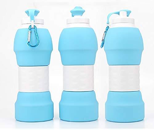 Poi Silicone folding kettle Hot outdoor sports telescopic water bottle Running travel folding cup (Color : A)