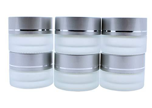 KingYH 6 Stück Cremedose Leer 5ml Mattglas Glastiegel mit Silber Deckel und Liner Nachfüllbare Behälter Glasbehälter Tiegel für Kosmetik Cremes Lotionen ätherische Öle Pulver Matt Weiß