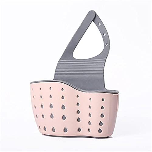 TIEHH Colgante Faucet Esponja Almacenamiento Drenaje Cesta Cocina Hogar Fregadero Caddy Organizador Fregadero Drenaje Estante, Fregadero de baño Cesta Ajustable (Color : Pink)