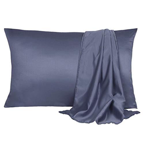 YeVhear – Juego de 2 fundas de almohada de satén de seda para el cabello y la piel, frescas, sedosas, suaves y transpirables, tamaño de viaje, 14 x 20 pulgadas, gris pizarra con cierre sobre