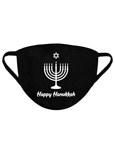 Happy Hanukkah Holiday Hanukkah Candle 100% Cotton Face Mask – Breathable Reusable Washable Cloth Mask for Nose and Mouth – 3-Layer Protective Outdoor Black Fabric Face Mask Candle