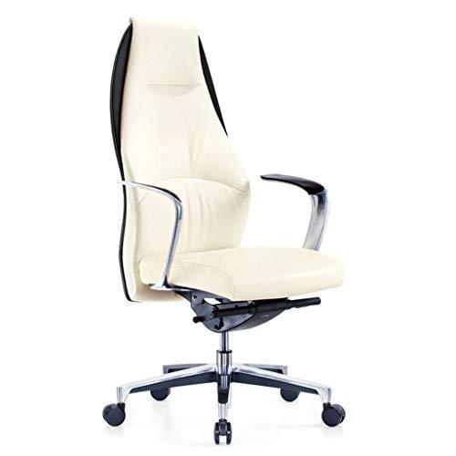 YWARX High-End Ergonomische High Back Office Computer bureaustoel, draaibare echt lederen Executive stoel met kantelhoek en vaste armleuning