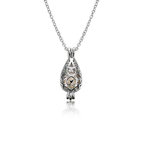 YRCHENGLI Colar feminino com pingente de pérola sintética de ostra Love Cage brincos de presente, colares, anéis, chaveiros, broches, presentes prateados, como mostrado na imagem