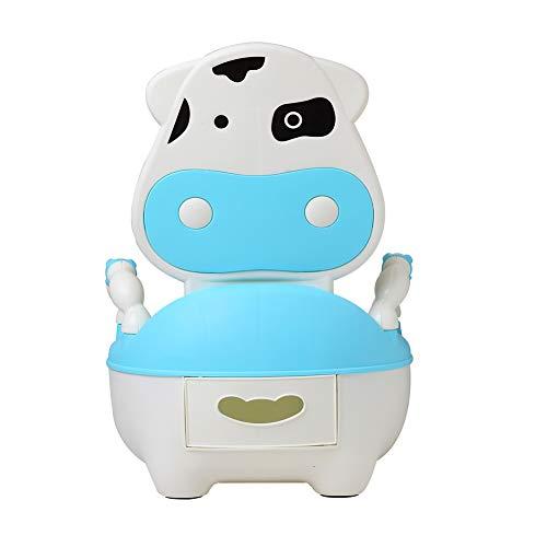 Glenmore Vasino per Bambini Bimbi Baby Water Animali Bambina con Coperchio e Cuscino Morbido Mucca Blu
