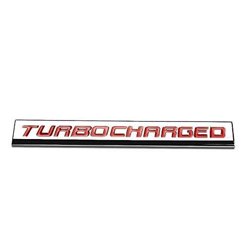 UrMarketOutlet TURBOCHARGED Red/Chrome Aluminum Alloy Auto Trunk Door Fender Bumper Badge Decal Emblem Adhesive Tape Sticker