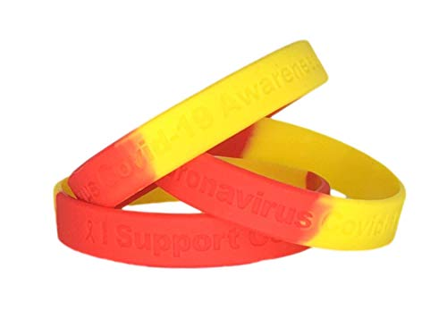 25 Pc Red & Yellow I Support Covid 19 Coronavirus Awareness Bracelets - 100% Medical Grade Silicone - Latex and Toxin Free - Show Your Support