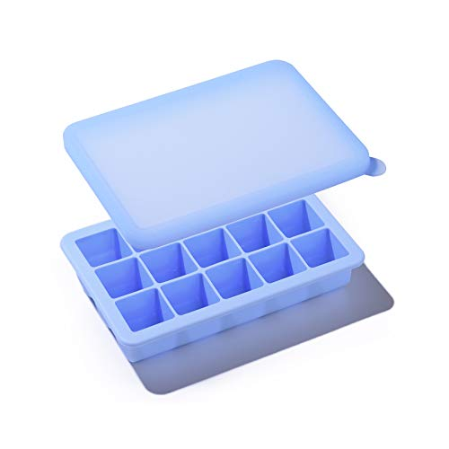 Kalar 冷凍小分け 離乳食保存容器 9ブロック 15ブロック 製氷皿 ベビーフード アイストレー (15ブロック, ブルー)