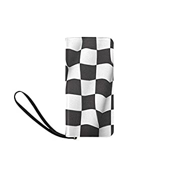 Womens Wallets Checkered Race Flag Zippered Wristlet Strap Handle Clutch Purse Great Gift
