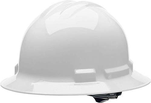 Malta Dynamics 4 pt Full Brim Hard Hat Safety Helmet with Poly Brow Pad and Flexible Attachment Points OSHA/ANSI Compliant White