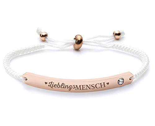 Silvity Damen Freundschafts-Armband Edenlstahl Gravur Lieblingsmensch veredelt mit einem Swarovski¨ Kristall 16,5 cm bis 20,5 cm (Weiß-Rose)