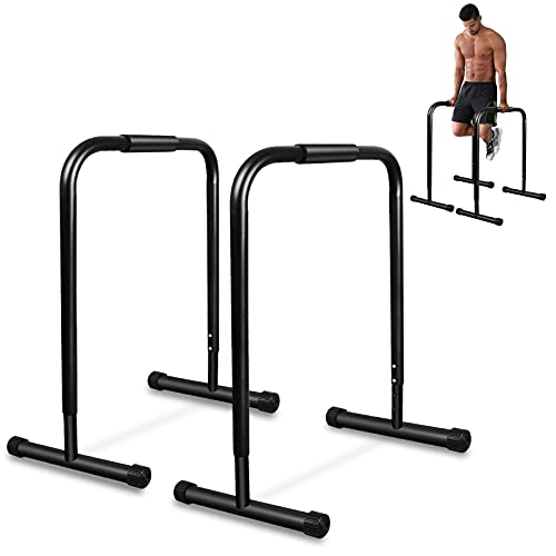Barras paralelas de fitness prémium (par), 4 niveles de ajuste de altura 76/82/90/97 cm, base extendida y grasa impresa, barra de entrenamiento Push Up Stand Bar Dip Station Fitness Rack Negro