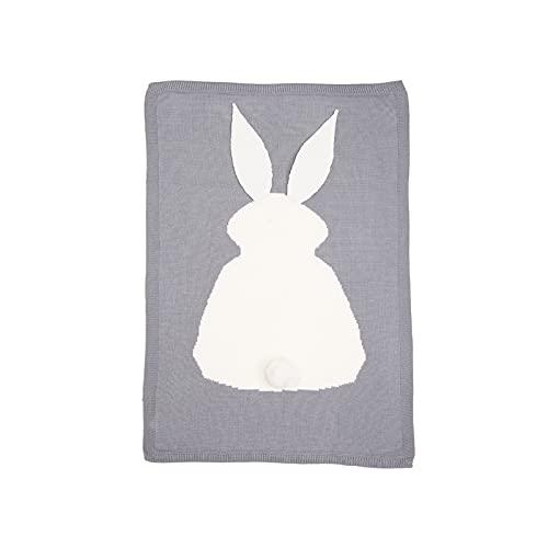 OMVOVSO Manta para niños, Manta Tejida Orejas de Conejo Manta de Conejo Manta de bebé Manta de Ganchillo Toallas de baño de Ropa de Cama para recién Nacidos,Gris