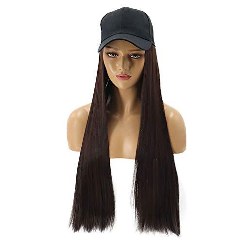 Brun clair Fashion Lady perruque d'une seule pièce Hat perruque longue ligne droite Chapeau cheveux 62cm perruque Cap Perruques Femme XXYHYQHJD (Color : Dark brown)