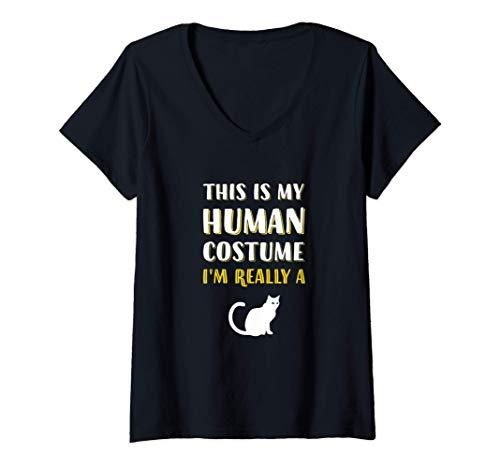 Mujer Este es mi disfraz humano. Soy realmente un gato. Camiseta Cuello V