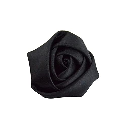 10Pieces/Lot Size 3.5Cm Ribbon Rose Handmade Satin Rose Ribbons Flowers Material For Make Wedding Bouquet Flower Accessories,Black
