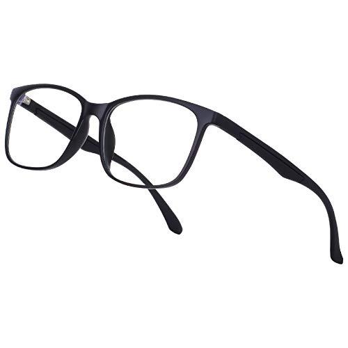 Occffy Blaulichtfilter Brille Ohne Sehstärke UV Gamer Gaming Brille von PC PS4 Computerbrille Augenbelastung Reduzieren für Herren Damen Oc092 (2303Schwarz Matt)