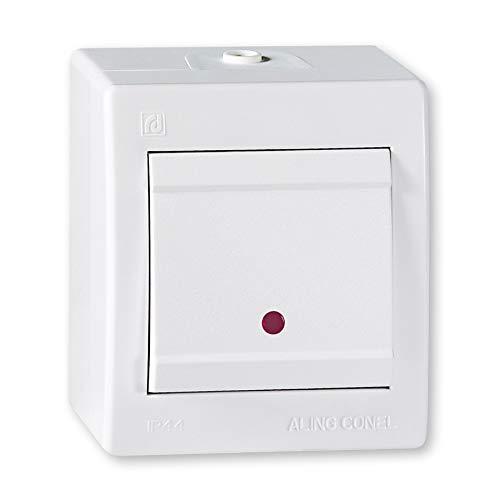 ALING-CONEL Ein/Aus Aufputz Schalter mit Glimmlampe (Kontrollleuchte) 10AX/250V~ / IP 44 - Weiß