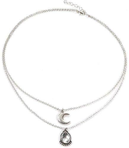Xianglsp Co.,ltd Collar Mujer Colgante Collar Crescent Joyas De Doble Capa Pareja