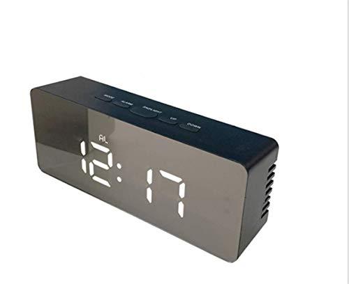 MingXinJia Relojes de Cabecera para el Hogar Reloj Despertador Digital Pantalla de Espejo de Gran Dígito sin Adornos Operación Simple Relojes Despertadores Alarma de Cabecera sin Tictac Rango Complet