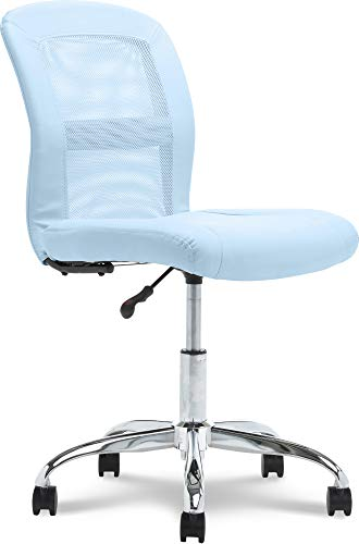Serta Essential Mesh Low-Back Computer Desk Task Chair with No Arms for Home Office or Conference Room, Faux Leather, Blue