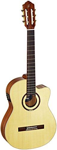 Ortega RCE138SN - Guitarra electroacústica de 4/4 (mástil estrecho: 48 mm, cutaway preamplificador, funda y correa), color madera natural