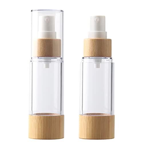 TIANZD 2 Pezzi 30 ml Airless Bottiglie Spray Vuoto Trasparente con Pompa Bambù, Vacuum Plastica Fine Nebbia Flacone Spruzza per Profumo Bottiglia Dispenser da Viaggio Portatile Campione