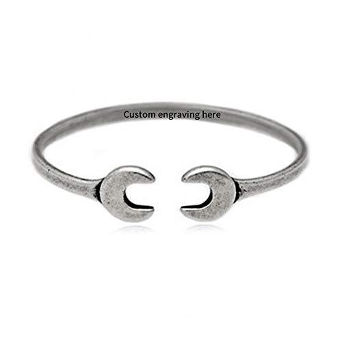 Souljewelry Armband für Männer Antik-Silber Personalisiert mit Text/Name Titan Stahl 130-220mm Schraubenschlüssel-Stil Geschenk zum Vatertag Geburtstag