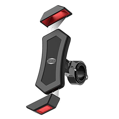 BOSIWO 自転車 スマホ ホルダー バイク スマホ ホルダー 振れ止め 脱落防止 GPSナビ 携帯 固定用 マウント スタンド 防水 4.7-6.8インチ に適用 iPhone HUAWEI Samsung Sony LG android 多機種対応 360度回転 脱着簡単 ステンレス鋼伸縮アーム 耐久性 強力な保護