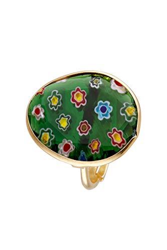 Córdoba Jewels | Sortija en Plata de Ley 925 bañada en Oro con Murano con diseño Luxury Murano Esmeralda Gold