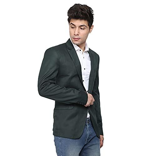 AN GARMENTS Designer Men's Slim Fit Notched Lapel Single Breasted Solid Blazer
