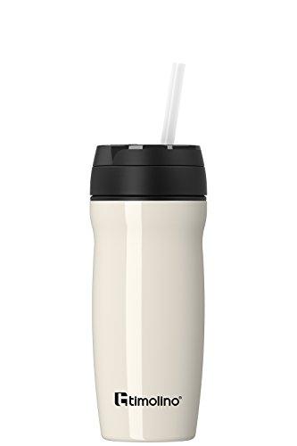 Premium thermobeker - roestvrij staal - isoleerbeker koffiebeker voor warme en koude dranken - lekvrij - BPA-vrij - 400 ml voor koffie en thee - Coffee to Go - theezeef - vruchtenzeef - wit